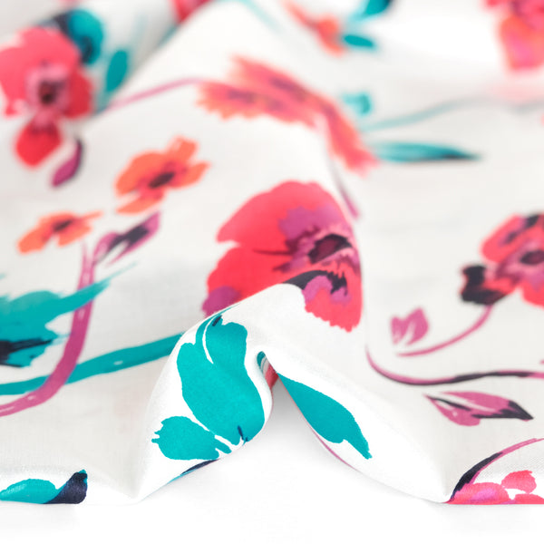 Deadstock Floral Border Print Viscose Sateen - Ivory/Multi