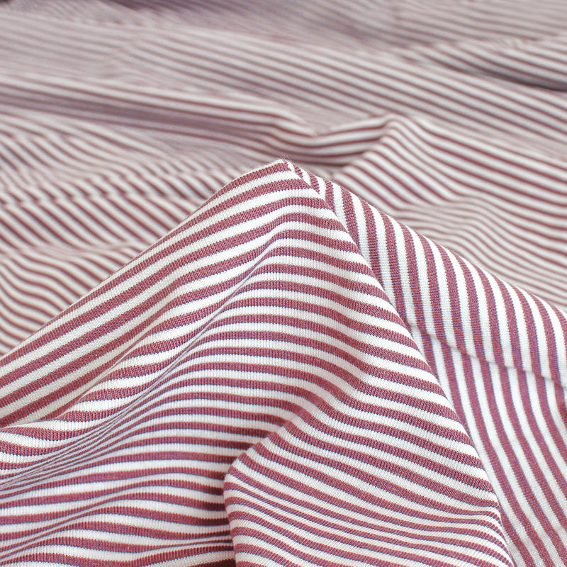 Micro Striped Bamboo & Organic Cotton Jersey Knit - Mauve/White