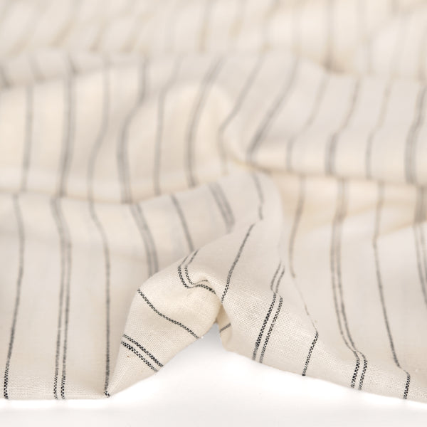 Striped Hemp & Organic Cotton Chambray - Ivory/Black
