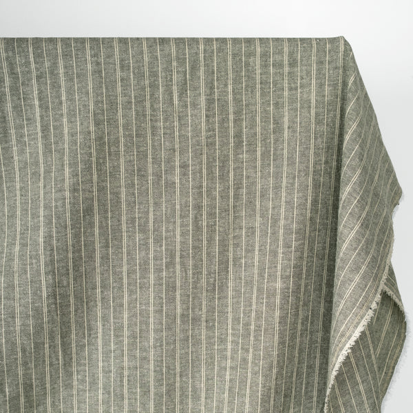 Striped Hemp & Organic Cotton Chambray - Forest/Ivory