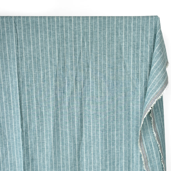 Striped Hemp & Organic Cotton Chambray - Teal/Ivory