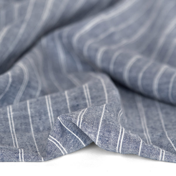 Striped Hemp & Organic Cotton Chambray - Navy/Ivory