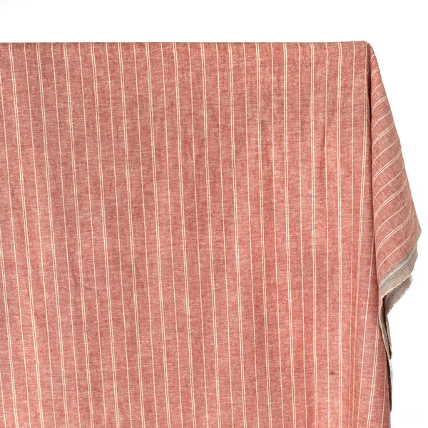 Striped Hemp & Organic Cotton Chambray - Ruby/Ivory