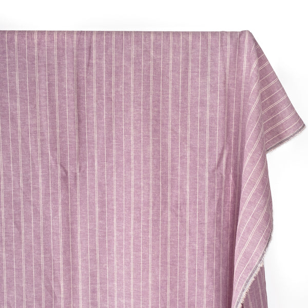 Striped Hemp & Organic Cotton Chambray - Thistle/Ivory