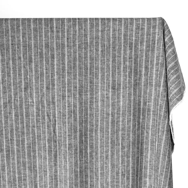 Striped Hemp & Organic Cotton Chambray - Grey/Ivory
