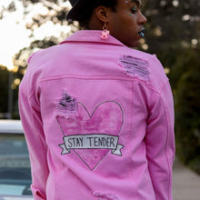 "Load image into Gallery viewer, ""STAY TENDER"" Pink Denim Jacket"