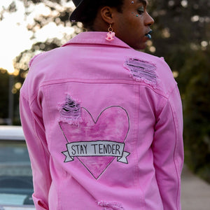 """STAY TENDER"" Pink Denim Jacket"