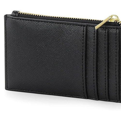 Boutique Card Holder Black - Gold | Lederlook pasjeshouder zwart met goud