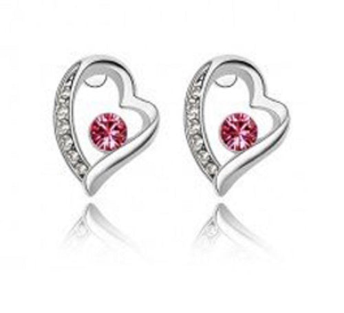 Accented Side Crystal Heart Earrings