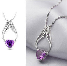 Angel Wings Cubic Zirconia Necklace (white/purple) - StyleBest Australia