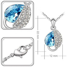 Blue Silver Leaves Necklace and Earrings Set - StyleBest Australia