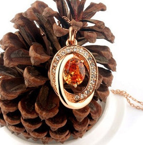 Circles of Fire Citrine Crystal Necklace - StyleBest Australia