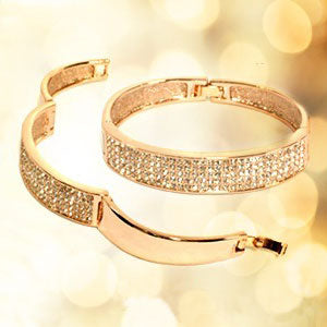 Classic Crystals Rose Gold Pave Bangle - StyleBest Australia