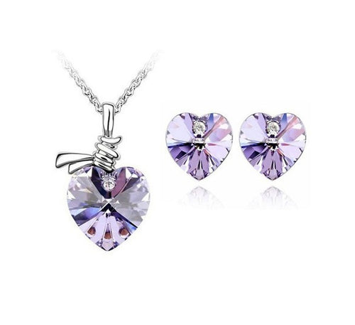 Scarf Heart Crystal Necklace and Earrings Set - StyleBest Australia