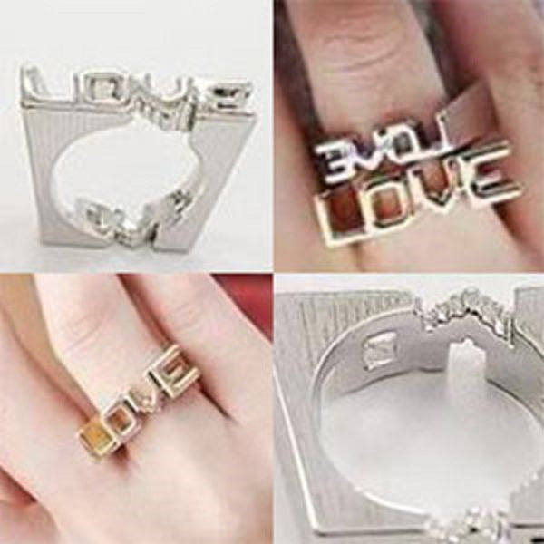 Double LOVE unique squared-shape ring - StyleBest Australia