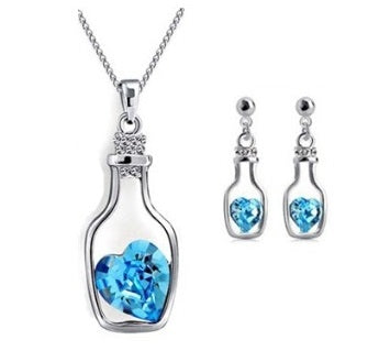 Drift Bottle Cystal Heart Necklace and Earrings Set - StyleBest Australia