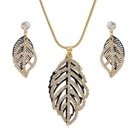 Golden Leaf Necklace & Earrings Set - StyleBest Australia