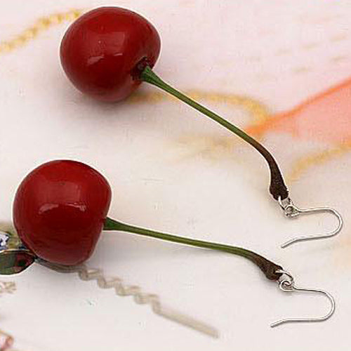 Red Cherry Dangle Earrings 1:1 scaled