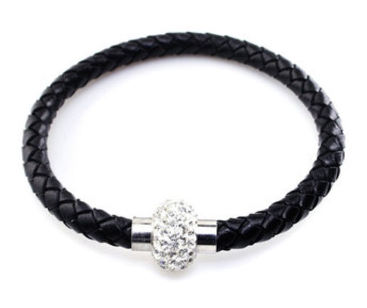 Black Leather Spinner Bracelet - StyleBest Australia