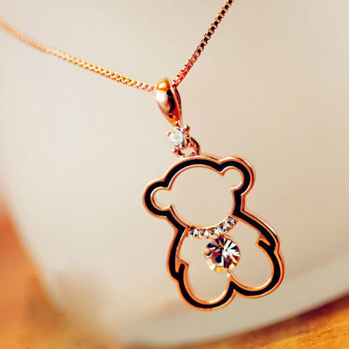 Miss Princess Bear Crystal Necklace - StyleBest Australia