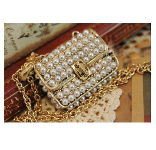 Pearly Golden Clutch Bag Sweater Necklace - StyleBest Australia