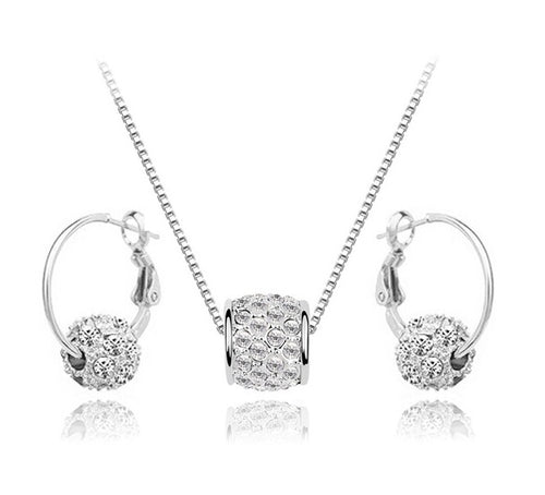 Encrusted Spinner Necklace and Hoop Earrings Set - StyleBest Australia