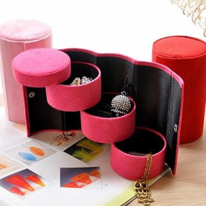 Red portable jewellery roll up box (4 compartments) - StyleBest Australia