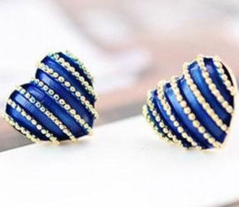 Striped Royal Blue Heart Stud Earrings - StyleBest Australia