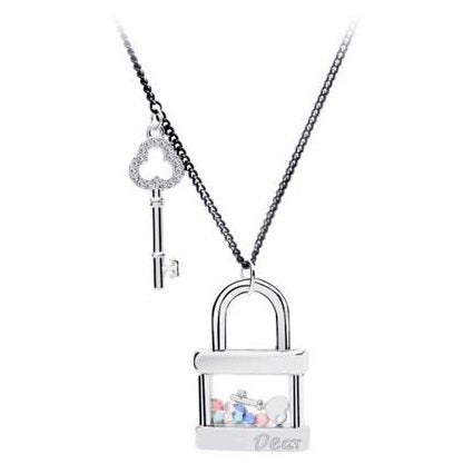 Treasure Locket Crystal & Key Sweater Necklace - StyleBest Australia