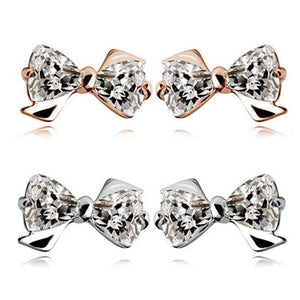 Trilliant Crystals Bow Stud Earrings