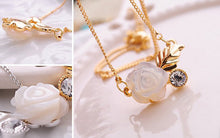 White Rose and Leaf Crystal Necklace