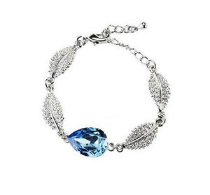Crystal Tear Drop & Leaves Bracelet - StyleBest Australia