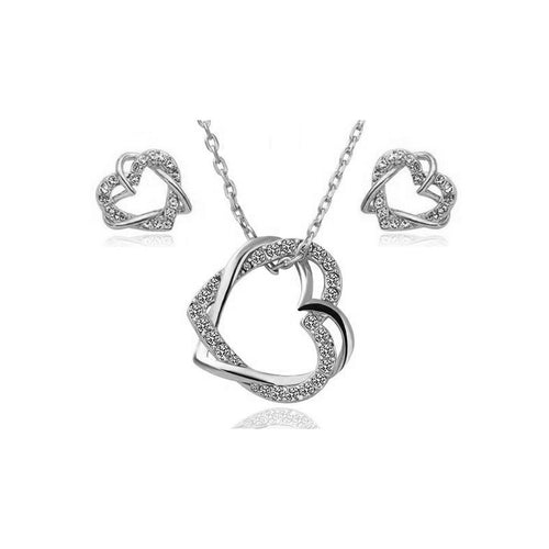 Entwined Hearts Necklace and Earrings Set - StyleBest Australia