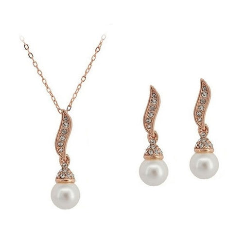 Leaf Lustre Pearl Necklace & Earrings Set - StyleBest Australia