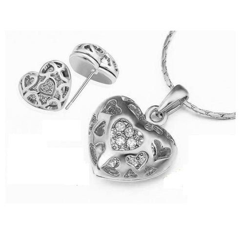 Treasure Trove Heart Throb Necklace and Earrings Set - StyleBest Australia