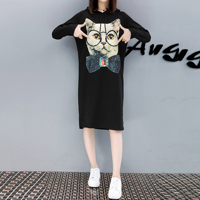 Plus Size Hoodie Dress With Long Sleeves Cat Print Free Shipping