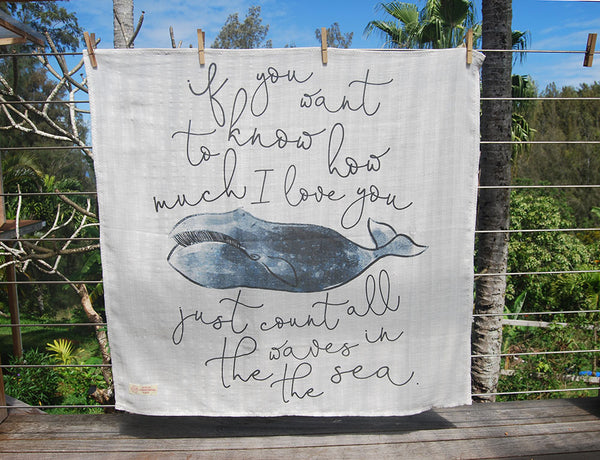 Swaddle Muslin Blanket - WHALE LOVE