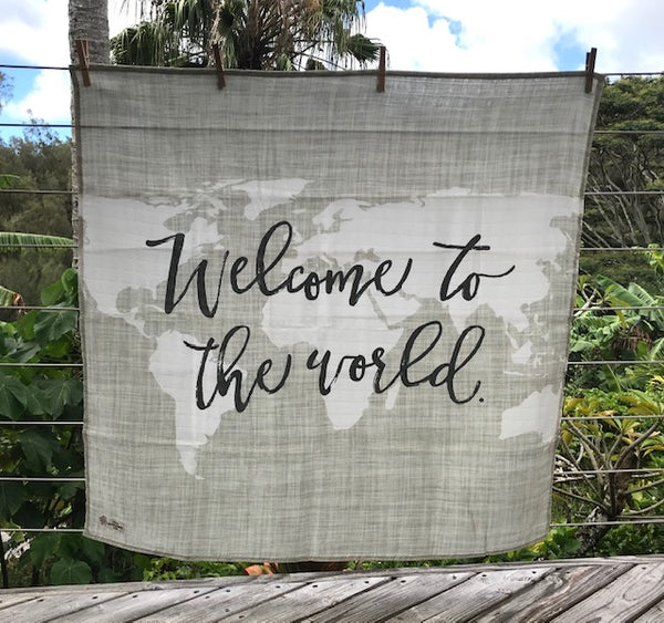 Swaddle Muslin Blanket - WELCOME olive