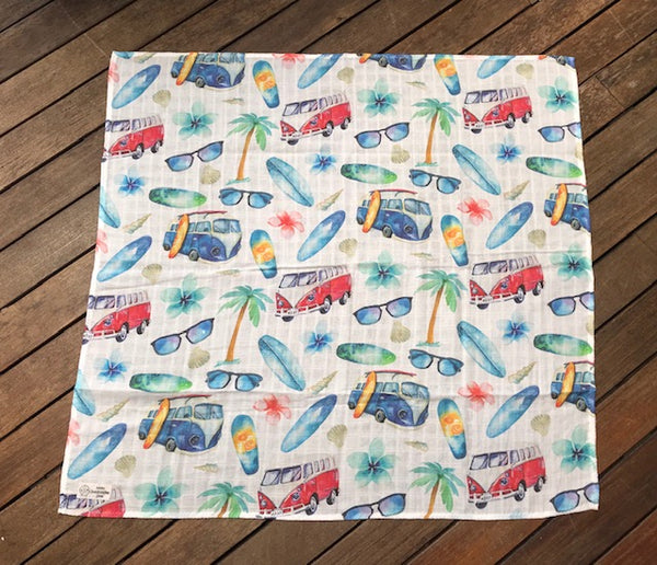 Swaddle Muslin Blanket - VW blue + red