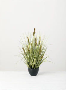 Potted Flocked Grass
