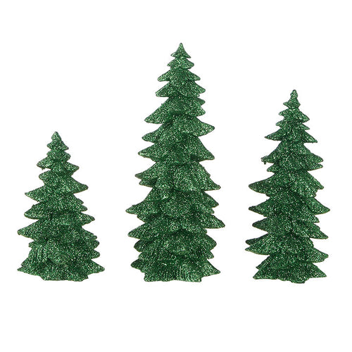 Green Glittered Tree Set