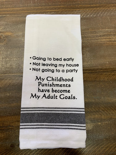 Adult Goals Dishtowel