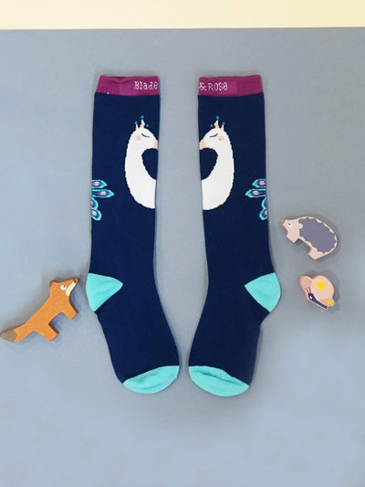Peacock Knee High Socks