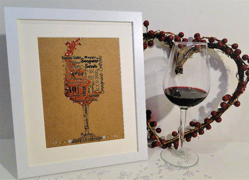 Personalised Word art Wine glass frame
