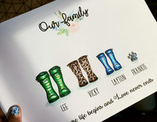 Load image into Gallery viewer, 'Our Family' Welly Boot Personalised Frame