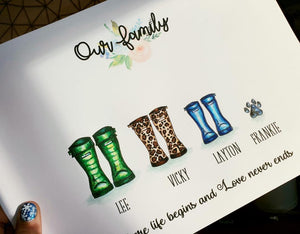 'Our Family' Welly Boot Personalised Frame