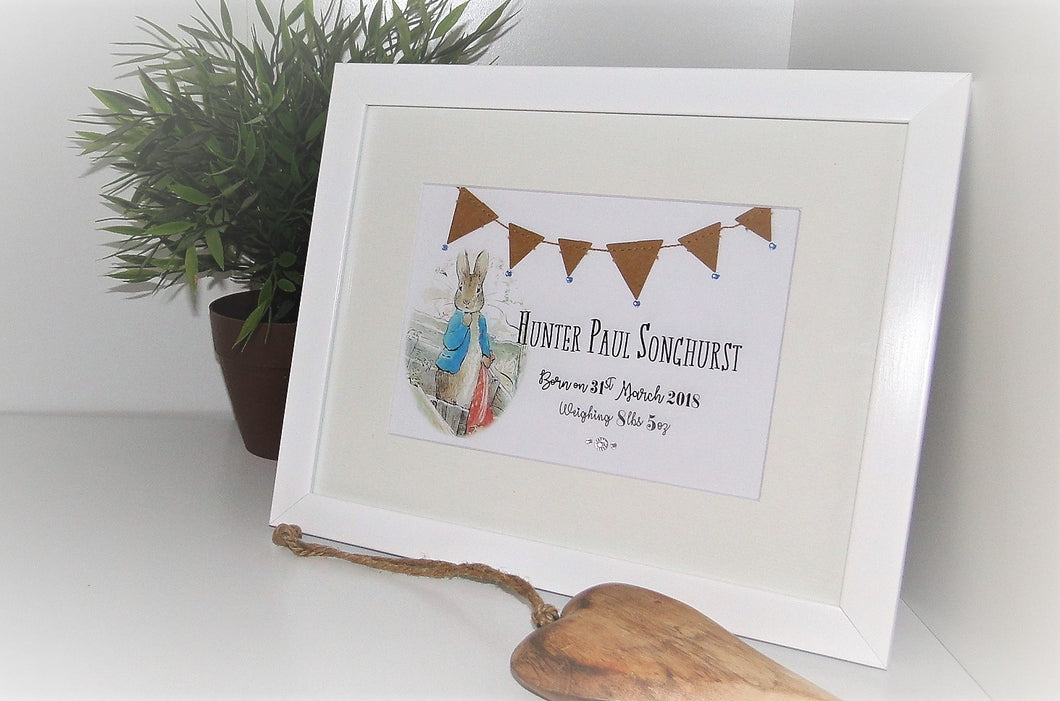 Personalised Baby Boy Peter Rabbit Bunting frame