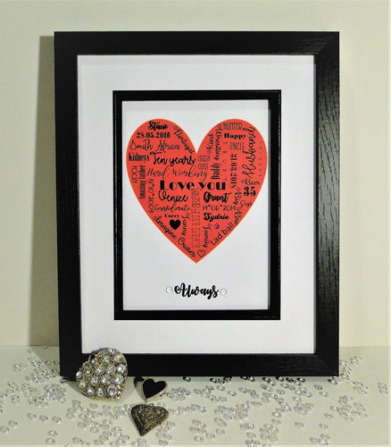 Personalised Word Heart Print