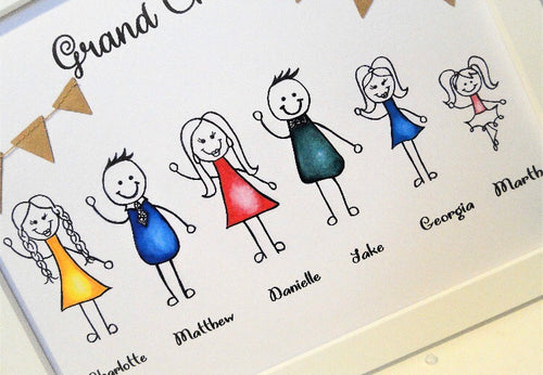 Grandchildren Personalised Stick people