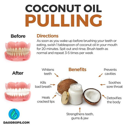 🥥 Oil pulling works primarily...